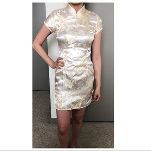 Dresses & Skirts - Traditional Chinese White + Gold Sort Qipao